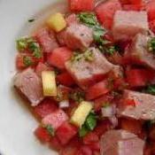Ceviche de atum fresco com melancia
